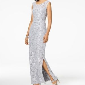 Connected Sequined Lace Slit Gown NWT